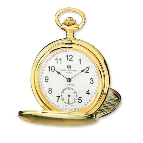 Charles Hubert IP-plated Stainless Steel White Dial Pocket Watch by Versil