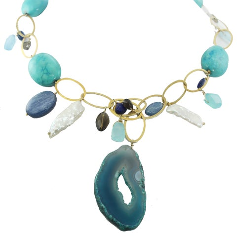 One-of-a-kind Michael Valitutti Palladium Silver Special Duzy and Multi Gemstone Necklace