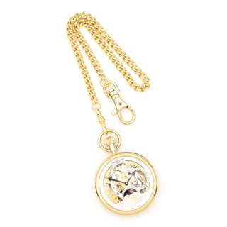 Charles Hubert IP-plated Stainless Open Face Dual Time Pocket Watch