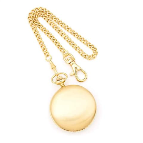 Charles Hubert IP-plated Stainless Double Cover Satin Pocket Watch - Yellow