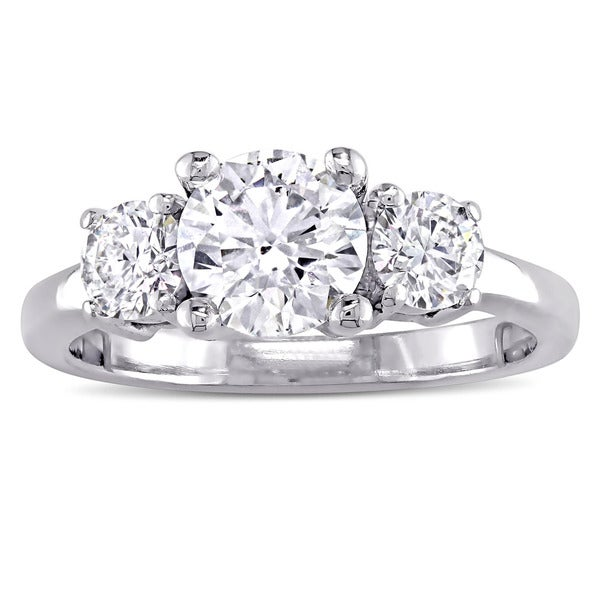 Miadora Signature Collection 14k White Gold 1 3/8ct TDW Diamond High-Polished 3-Stone Engagement Rin