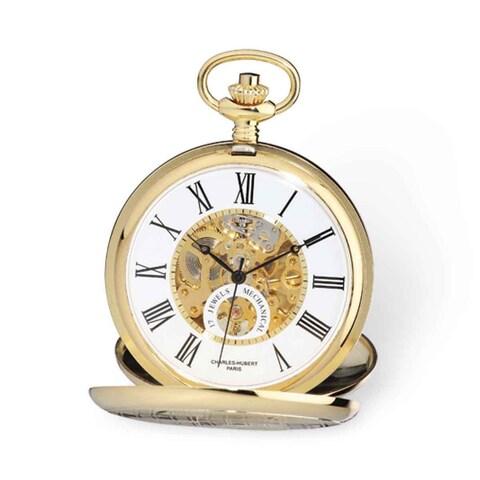 Charles Hubert Gold Finish White Skeleton Dial 53mm Pocket Watch