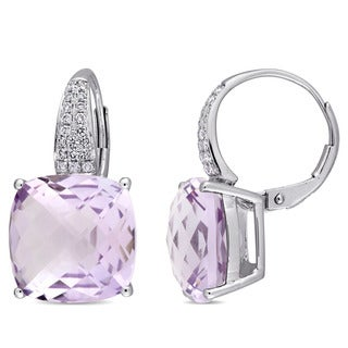 Miadora Signature Collection 14k White Gold Checkerboard Rose de France 1/5ct TDW Diamond Leverback Earrings (G-H,SI1-SI2)