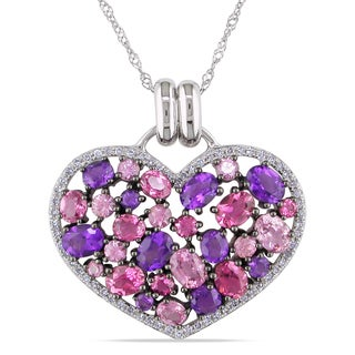 Miadora Signature Collection 14k White Gold Multi-Gemstone and 1/5ct TDW Diamond Halo Clustered Heart Necklace (G-H, I1-I2)
