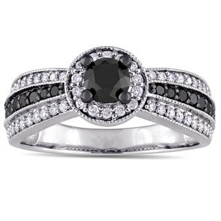 Miadora Signature Collection 14k White Gold with Black Rhodium 1ct TDW Black and White Diamond 3-Row Halo Ring (G-H, I2-I3)