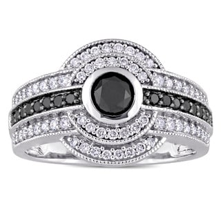 Miadora Signature Collection 14k White Gold with Black Rhodium 1ct TDW Black and White Diamond Double Halo Ring (G-H, I2-I3)