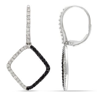 Miadora Signature Collection 14k White Gold with Black Rhodium 1ct TDW Black and White Diamond Geometric Earrings (G-H, I1-I2)