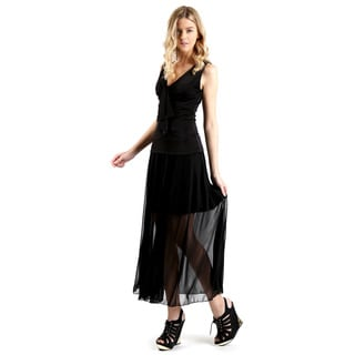 Evanese Women's Black Double-layered Long Skirt