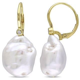 Miadora Signature Collection 14k Yellow Gold Cultured Freshwater Pearl Diamond Leverback Earrings (14.5-15mm) (G-H, SI1-SI2)