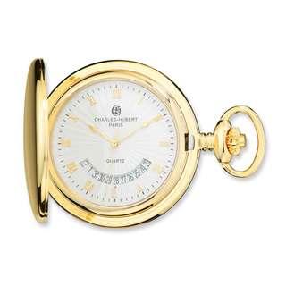 Charles Hubert Gold Finish White Dial Pocket Watch