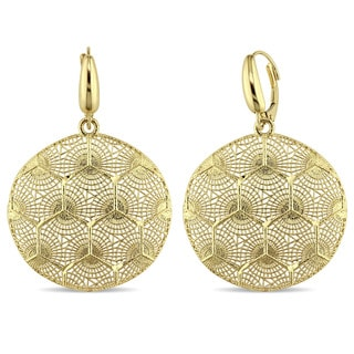 Miadora Signature Collection 18k Yellow Gold Lattice Detailing Dangle Leverback Earrings
