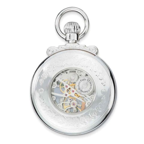 Charles Hubert Chrome-Finish Open Face Acrylic Crystal Pocket Watch - White