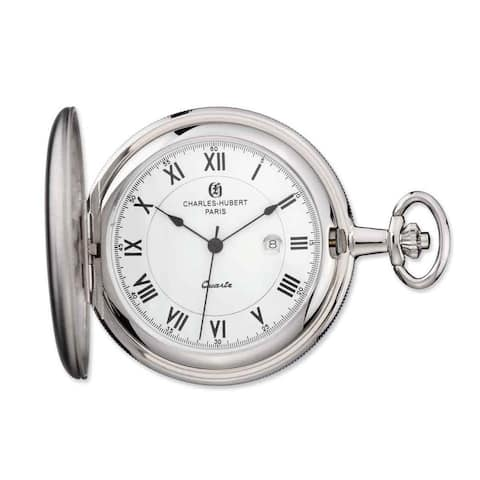 Charles Hubert Chrome Finish White Dial Pocket Watch by Versil - Silver