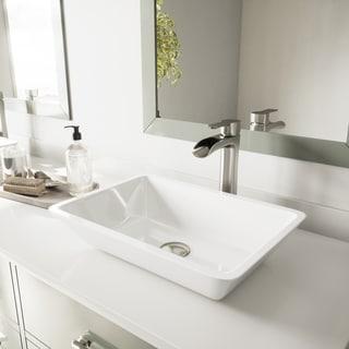 VIGO White Flat-edged Rectangular Phoenix Stone Vessel Bathroom Sink