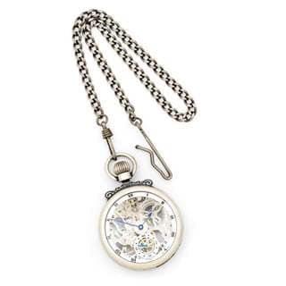 Charles Hubert Antique Chrome Finish Brass Skeleton Pocket Watch