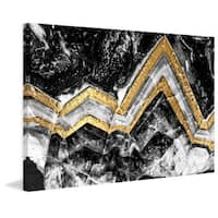 Marmont Hill - 'Gold Bands' Painting Print on Wrapped Canvas - Black