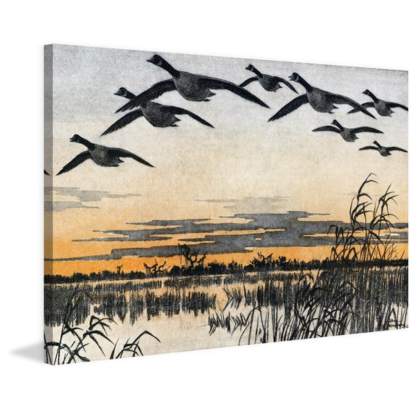 Marmont Hill - 'Geese in Flight' Painting Print on Wrapped Canvas - Orange