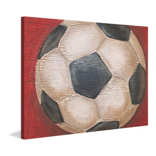 Marmont Hill - 'Crackle Soccer Ball' by Reesa Qualia Painting Print on Wrapped Canvas