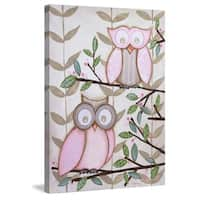 Marmont Hill - '2 Pink Owls' by Reesa Qualia Painting Print on Wrapped Canvas