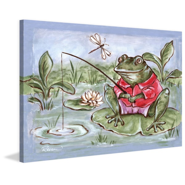 Marmont Hill - 'Freddie Gone Fishing' by Reesa Qualia Painting Print on Wrapped Canvas