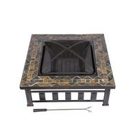 HIO 36-inch Natural Slate Top Square Fire Pit