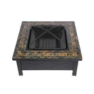 HIO 36-Inch Natural Slate Top Fire Pit Included Cover and Poker
