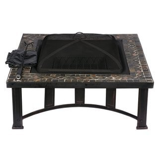 HIO 34-Inch Natural Slate Top Fire Pit Included Cover and Poker