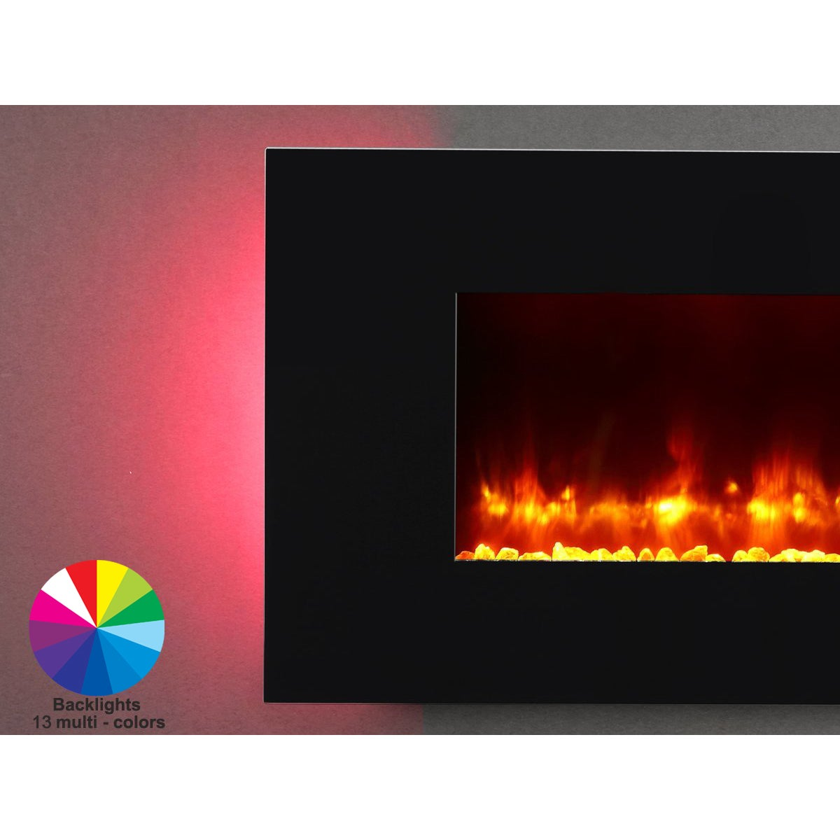 Astonishing Puraflame 47 Inch Rossano Wall Mounted Flat Panel Electric Fireplace Heater Home Interior And Landscaping Ologienasavecom