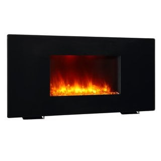 PuraFlame 36-inch Galena 1350W Black Portable/ Wall Mounted Flat Panel Electric Fireplace with Remote