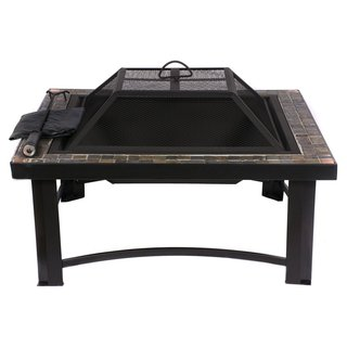 HIO 30-inch Natural Slate Top Square Fire Pit
