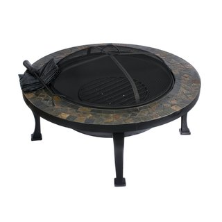 HIO 34-inch Natural Slate Top Tall Round Fire Pit