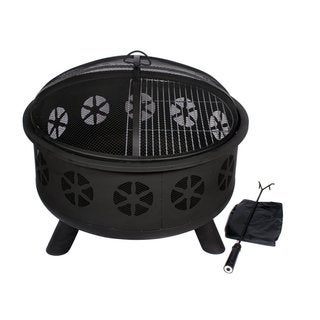HIO 30-Inch Outdoor Firepit - Includes Protective Cover, Safety Poker Stick