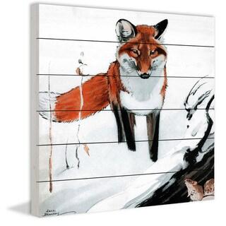 Marmont Hill - Handmade Snow Fox Painting Print on White Wood