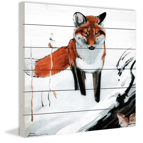 Marmont Hill - Handmade Snow Fox Painting Print on White Wood