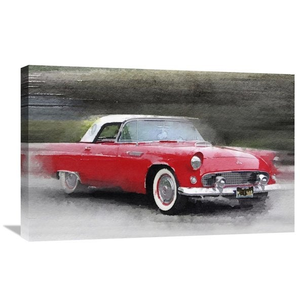 Naxart Studio 1955 Ford Thunderbird Watercolor Stretched Canvas
