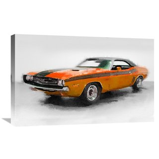 Naxart Studio '1968 Dodge Challenger Watercolor'' Stretched Canvas Wall Art