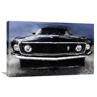 NAXART Studio '1968 Ford Mustang Shelby Front Watercolor' Stretched Canvas Wall Art