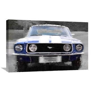 NAXART Studio '1968 Ford mustang Front End Watercolor' Stretched Canvas Wall Art