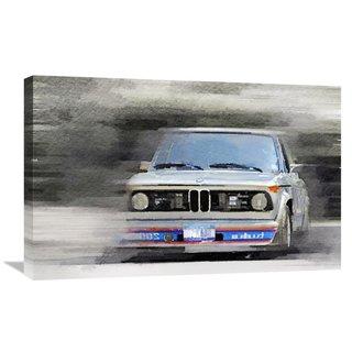 NAXART Studio '1974 BMW 2002 Turbo Watercolor' Stretched Canvas Wall Art