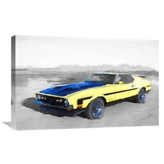 NAXART Studio '1971 Ford Mustang Boss Watercolor' Stretched Canvas Wall Art