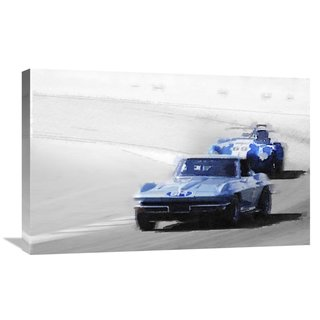 NAXART Studio 'Corvette and AC Cobra Shelby Watercolor' Stretched Canvas Wall Art