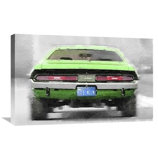 NAXART Studio 'Dodge Challenger Rear Watercolor' Stretched Canvas Wall Art