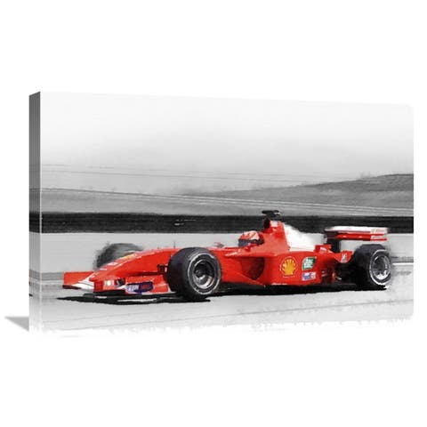 NAXART Studio 'Ferrari F1 Laguna Seca Watercolor' Stretched Canvas Wall Art - Red/Grey