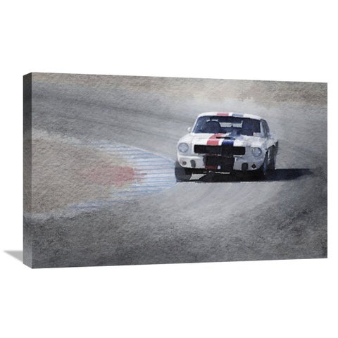 NAXART Studio 'Mustang on Race Track Watercolor' Stretched Canvas Wall Art
