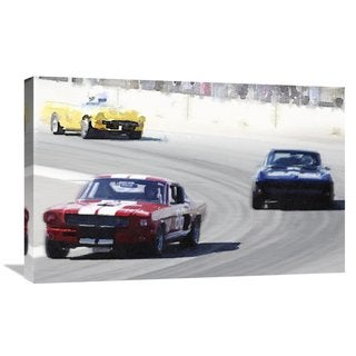 NAXART Studio 'Mustang and Corvette Racing Watercolor' Stretched Canvas Wall Art