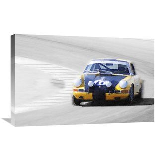 NAXART Studio 'Porsche 911 on Race Track Watercolor' Stretched Canvas Wall Art