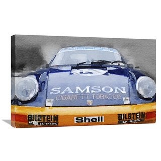 NAXART Studio 'Porsche 911 Front End Watercolor' Stretched Canvas Wall Art