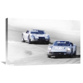 NAXART Studio 'Porsche 904 Racing Watercolor' Stretched Canvas Wall Art