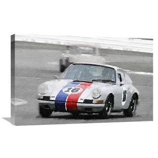 NAXART Studio 'Porsche 911 Race in Monterey Watercolor' Stretched Canvas Wall Art