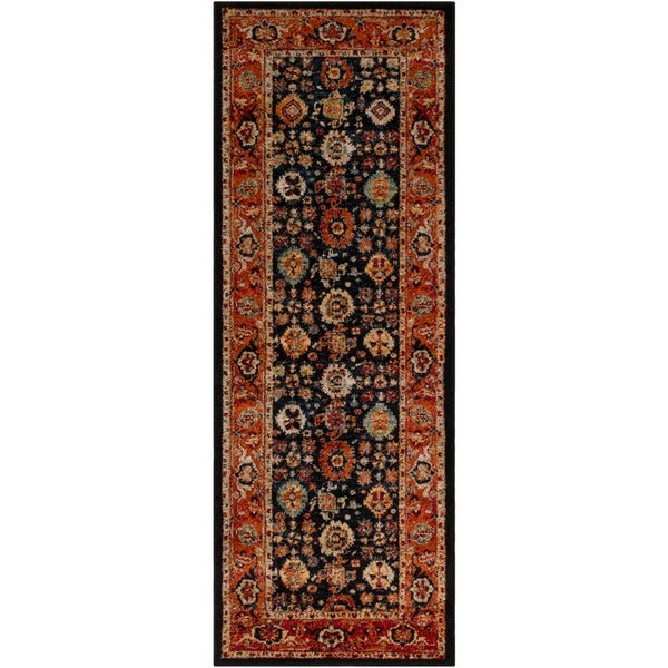 Louise Dark Blue & Orange Vintage Traditional Rug (2'7 x 7'3)